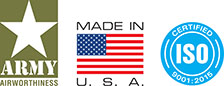 Army Airworthyness, Made In U.S.A., Certified ISO 9001-2008